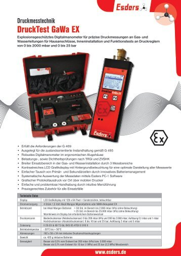 Digitalmanometer Drucktest GaWa EX - Esders GmbH