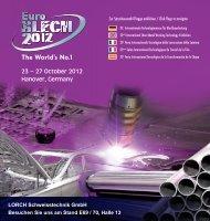 23 – 27 October 2012 Hanover, Germany - Schweißtechnik ...