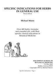 specific indications for herbs in general use - Southwest School of ...