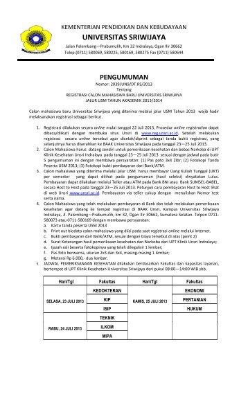 Pengumuman Hasil Seleksi dan Registrasi Mahasiswa Baru USM S1