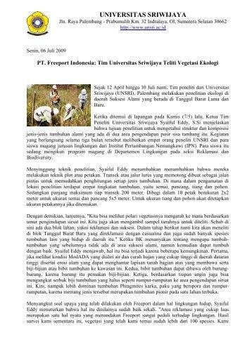 PT Freeport Indonesia-Tim Universitas Sriwijaya Teliti Vegetasi ...