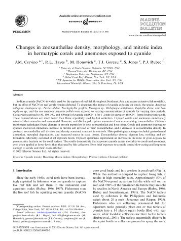 Changes in zooxanthellae density, morphology, and mitotic index in ...