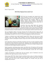 RSUD Bari Siapkan Kelas untuk Unsri - Universitas Sriwijaya ...