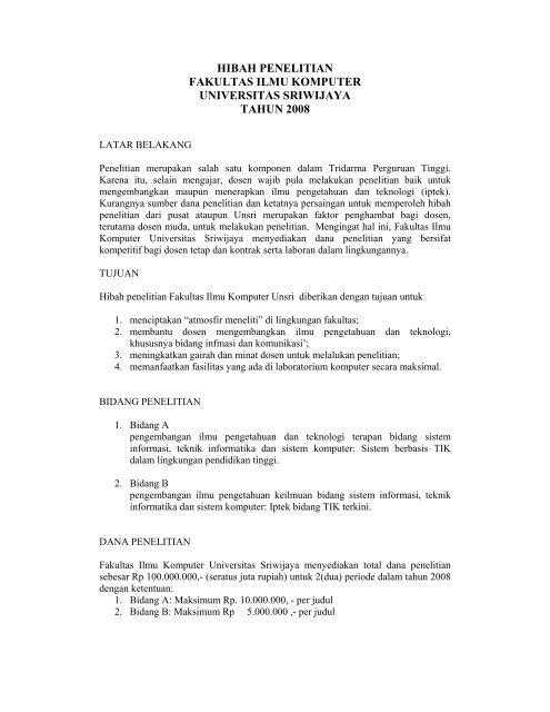 Hibah Penelitian Fakultas Ilmu Komputer Universitas Sriwijaya Tahun