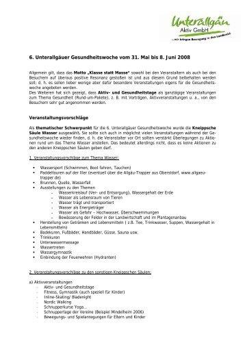 6. Unterallgäuer Gesundheitswoche vom 31. Mai bis 8. Juni 2008