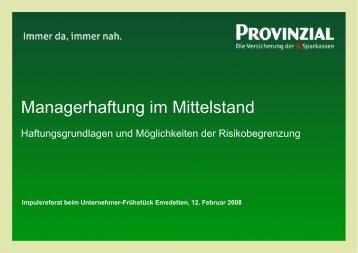 Managerhaftung im Mittelstand - Unternehmensforum-Emsdetten