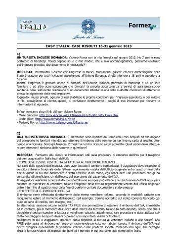 EASY ITALIA: CASI RISOLTI 16-31 gennaio 2013