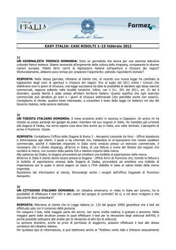 EASY ITALIA: CASI RISOLTI 1-15 febbraio 2012