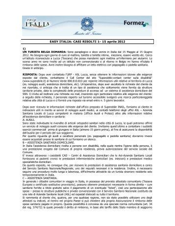 EASY ITALIA: CASI RISOLTI 1- 15 aprile 2012