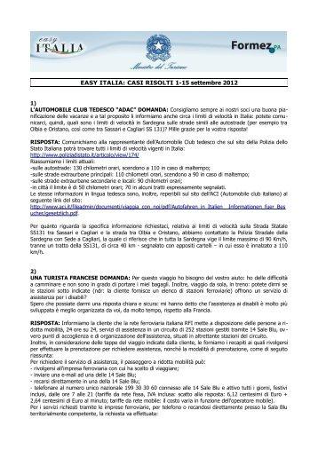 EASY ITALIA: CASI RISOLTI 1-15 settembre 2012