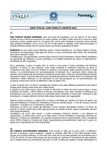 EASY ITALIA: CASI RISOLTI AGOSTO 2011