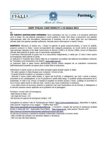 EASY ITALIA: CASI RISOLTI 1-15 ottobre 2012