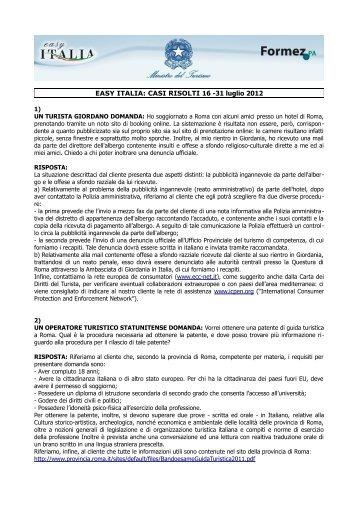 EASY ITALIA: CASI RISOLTI 16 -31 luglio 2012