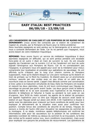 EASY ITALIA: BEST PRACTICES 06/09/10 - 12/09/10