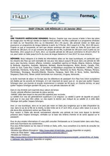EASY ITALIA: CAS RÉSOLUS 1-15 Janvier 2012