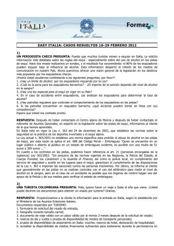 EASY ITALIA: CASOS RESUELTOS 16-29 FEBRERO 2012
