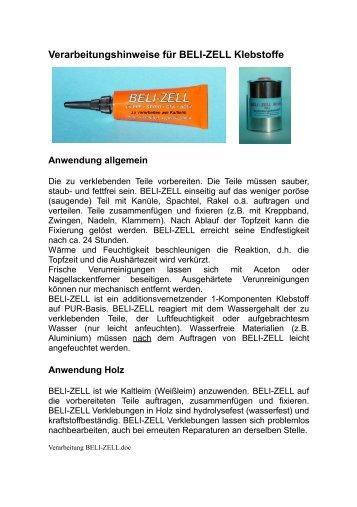Verarbeitungshinweise für BELI-ZELL Klebstoffe - Lipoly