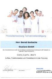 Produkteinweisung Teilnahmebestätigung - OxyCare GmbH