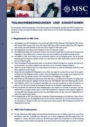 teilnahmebedingungen und konditionen - MSC Kreuzfahrten