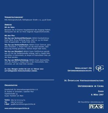 Unternehmen in China - Gesellschaft für Unternehmensgeschichte eV