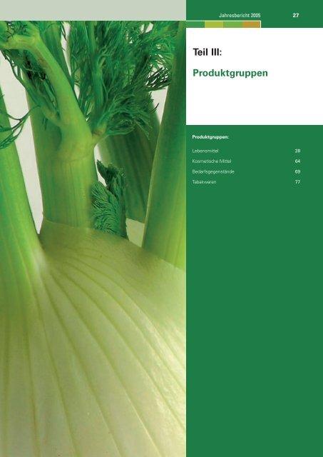 Teil III: Produktgruppen - Lebensmittelüberwachung und ...