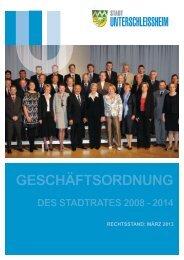 Geschäftsordnung des Stadtrates 2008 - Stadt Unterschleissheim