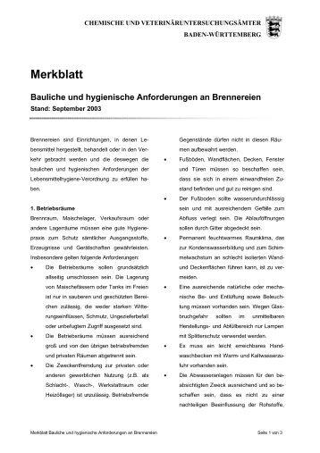 Merkblatt Bauliche und hygienische Anforderungen an Brennereien