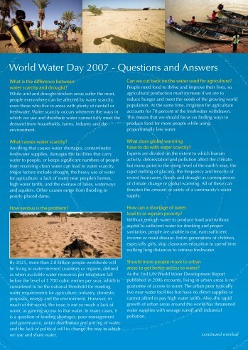 World Water Day 2007 - Questions and Answers - UN-Water
