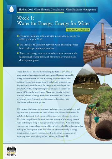 Water for Energy, Energy for Water Framing Paper - UN-Water