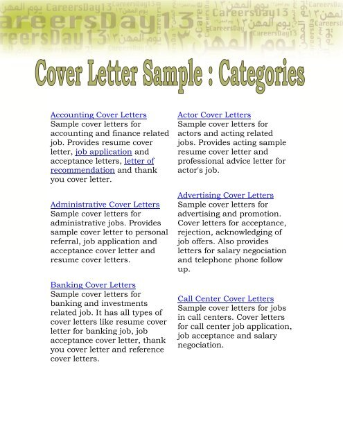 Accounting Cover Letters Sample cover letters for accounting ...