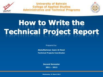 Contents of the Project's Report