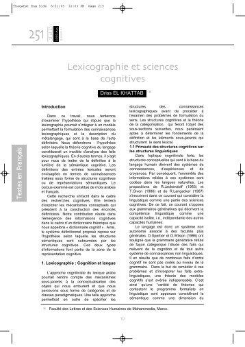 Lexicographie et sciences cognitives