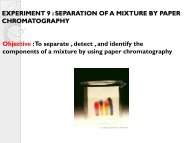 experiment 9 : separation of a mixture by paper chromatography