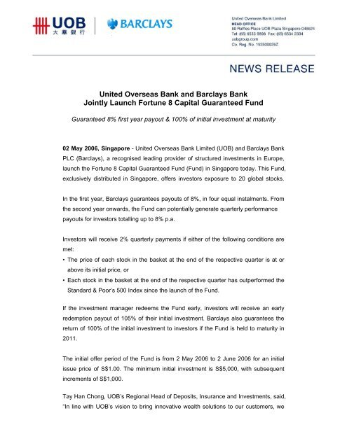 United Overseas Bank and Barclays Bank Jointly Launch