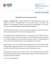 UOB appoints new Country Head for India - United Overseas Bank