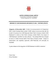 Merger Of UOB Radanasin & Bank Of Asia - United Overseas Bank