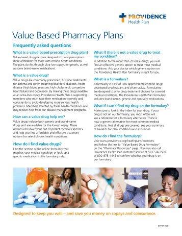 Value Based Pharmacy Plans - Providence Health Plan