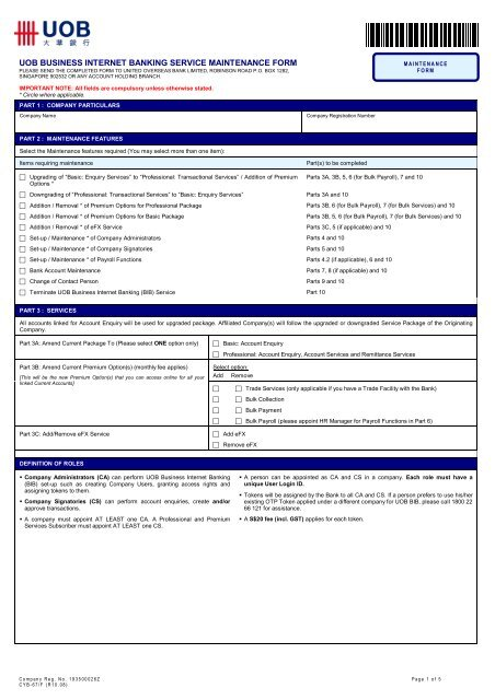 uob business internet banking service maintenance form - United ...