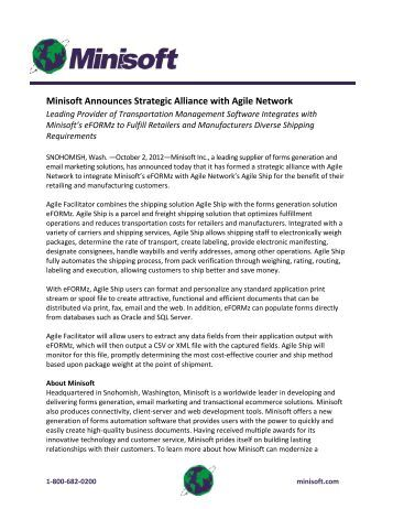 Minisoft Announces Strategic Alliance with Agile Network