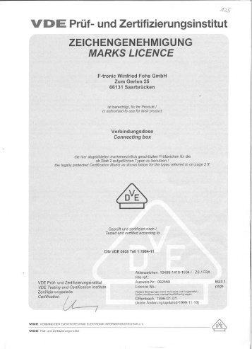 Vde-Zertifikat: E125 (Nr. 092559) - F-tronic