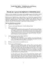 Zásady pro vypracování diplomové a bakalářské práce
