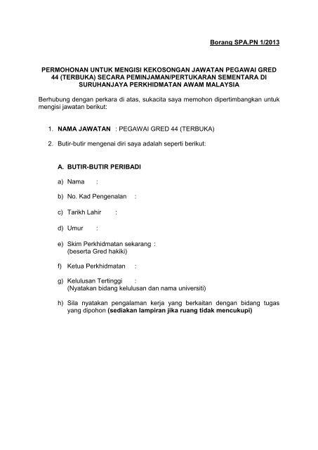 Borang Spa Pn 1 2013 Permohonan Untuk Spa Malaysia