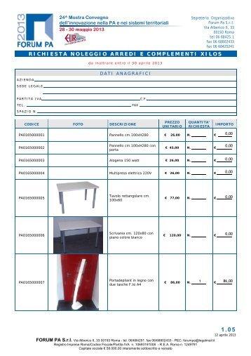 Richiesta di offerta fotocopiatrici a noleggio for Noleggio arredi