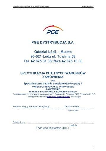 Miasto 90-021 Łódź ul. Tuwima 58 Tel. 42 675 31 ... - PGE Dystrybucja