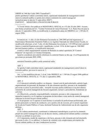 ORDIN nr. 946 din 4 iulie 2005 (*actualizat*) pentru aprobarea ...