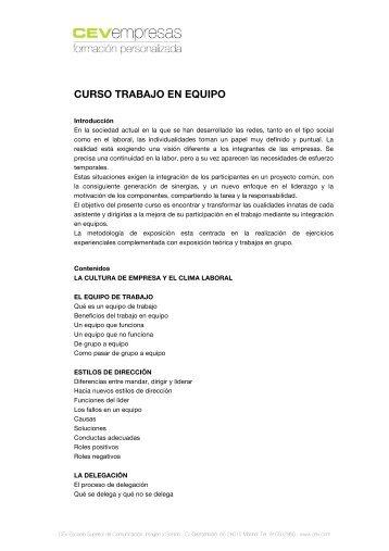 CURSO TRABAJO EN EQUIPO - cev empresas