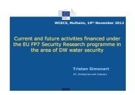 Current and future activities financed under the EU FP7 Security ...