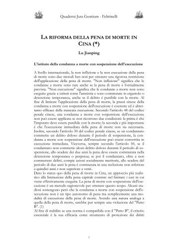 La riforma della pena di morte in Cina - Jura Gentium