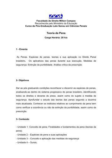 Teoria da Pena - Milton Campos