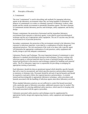 """III. Principles of Biosafety A. Containment The term """"containment"""" is ..."""